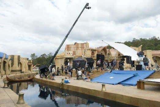"◗ HammerTime The crew readies an Asgard exterior. ""amounts to one-third of the feature run time,"""