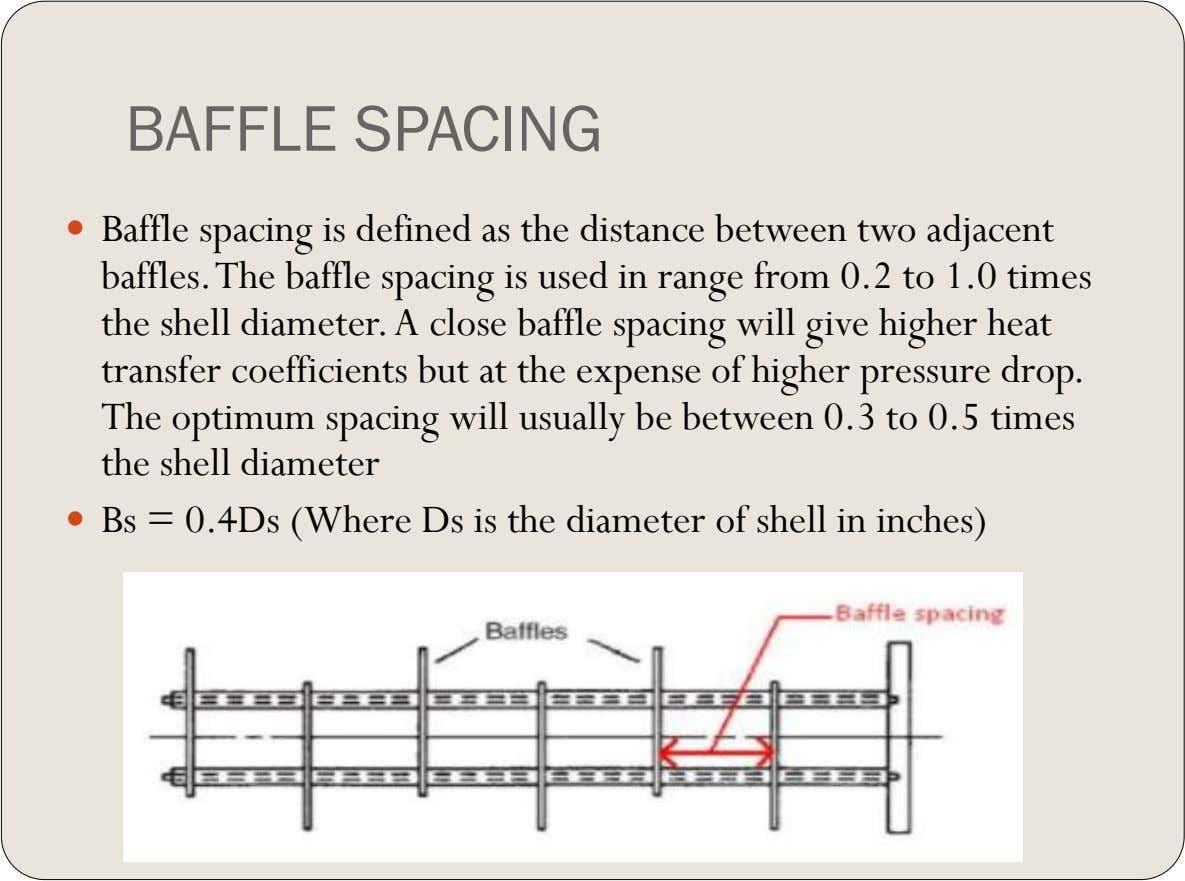 BAFFLE SPACING  Baffle spacing is defined as the distance between two adjacent baffles. The baffle