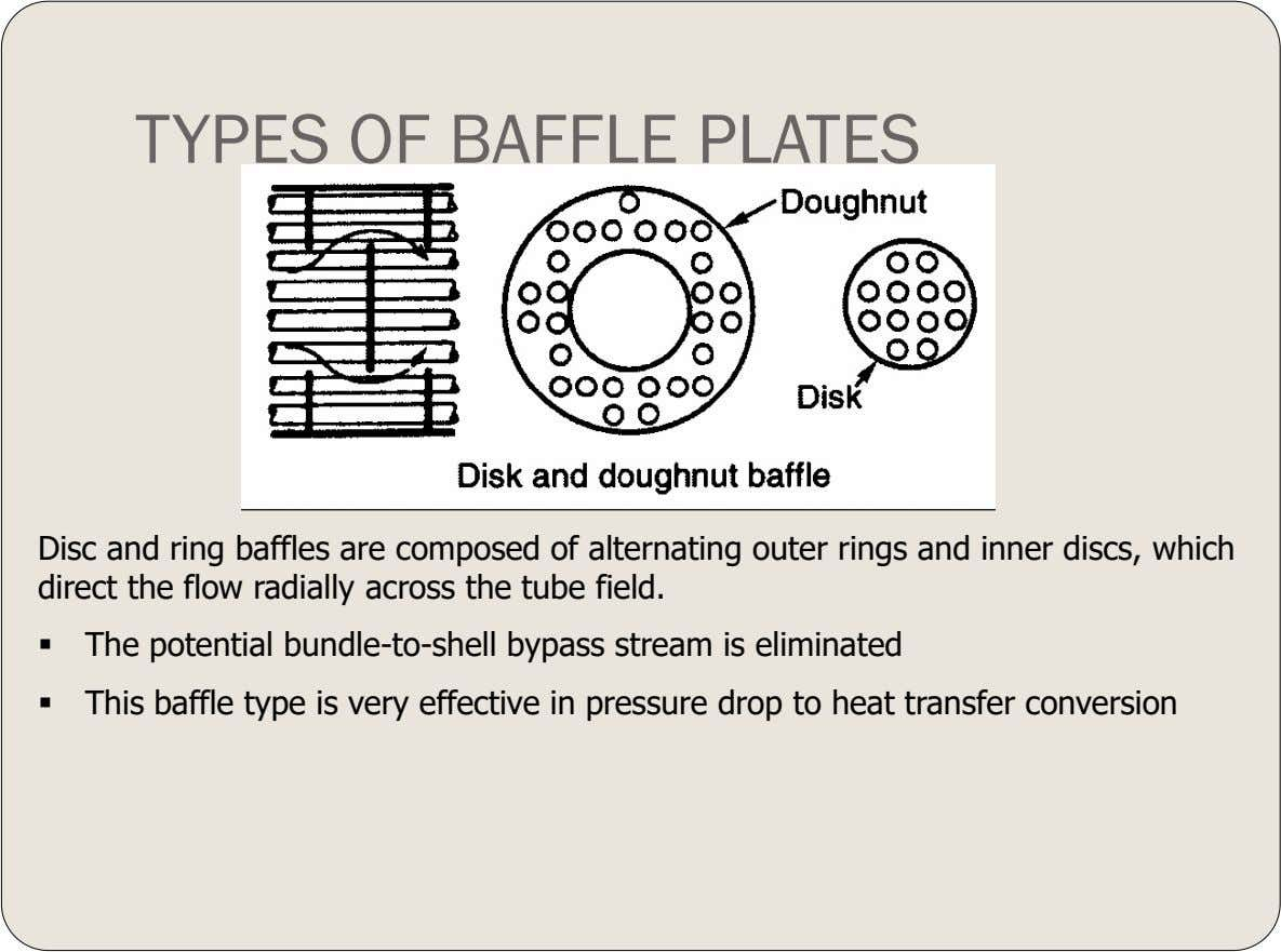 TYPES OF BAFFLE PLATES Disc and ring baffles are composed of alternating outer rings and inner
