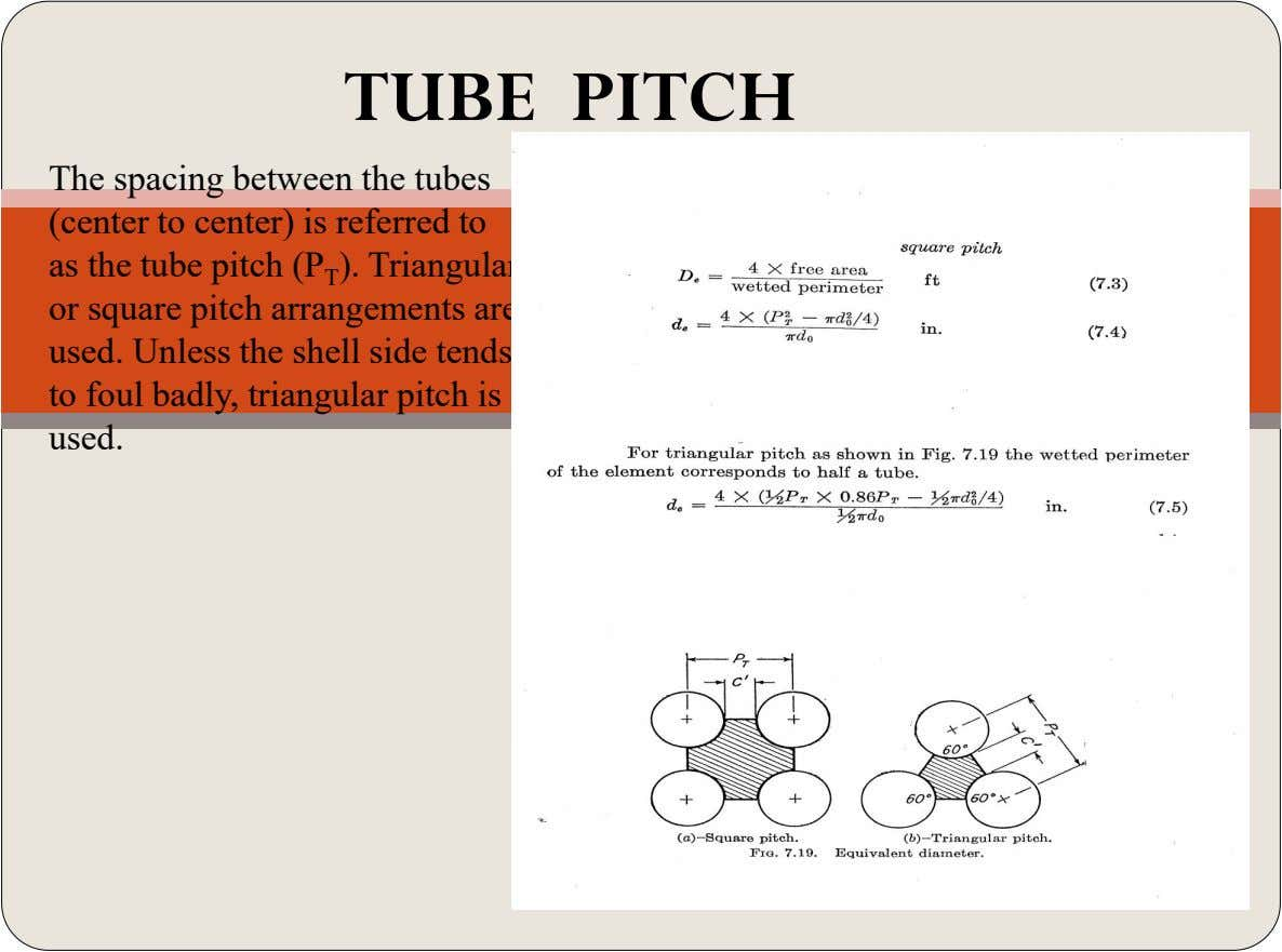 TUBE PITCH The spacing between the tubes (center to center) is referred to as the tube