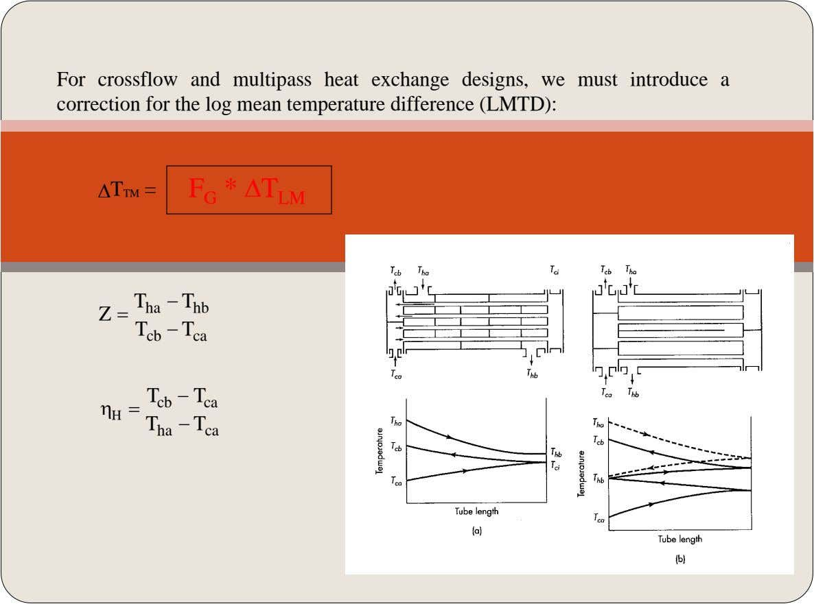 For crossflow and multipass heat exchange designs, we must introduce a correction for the log mean