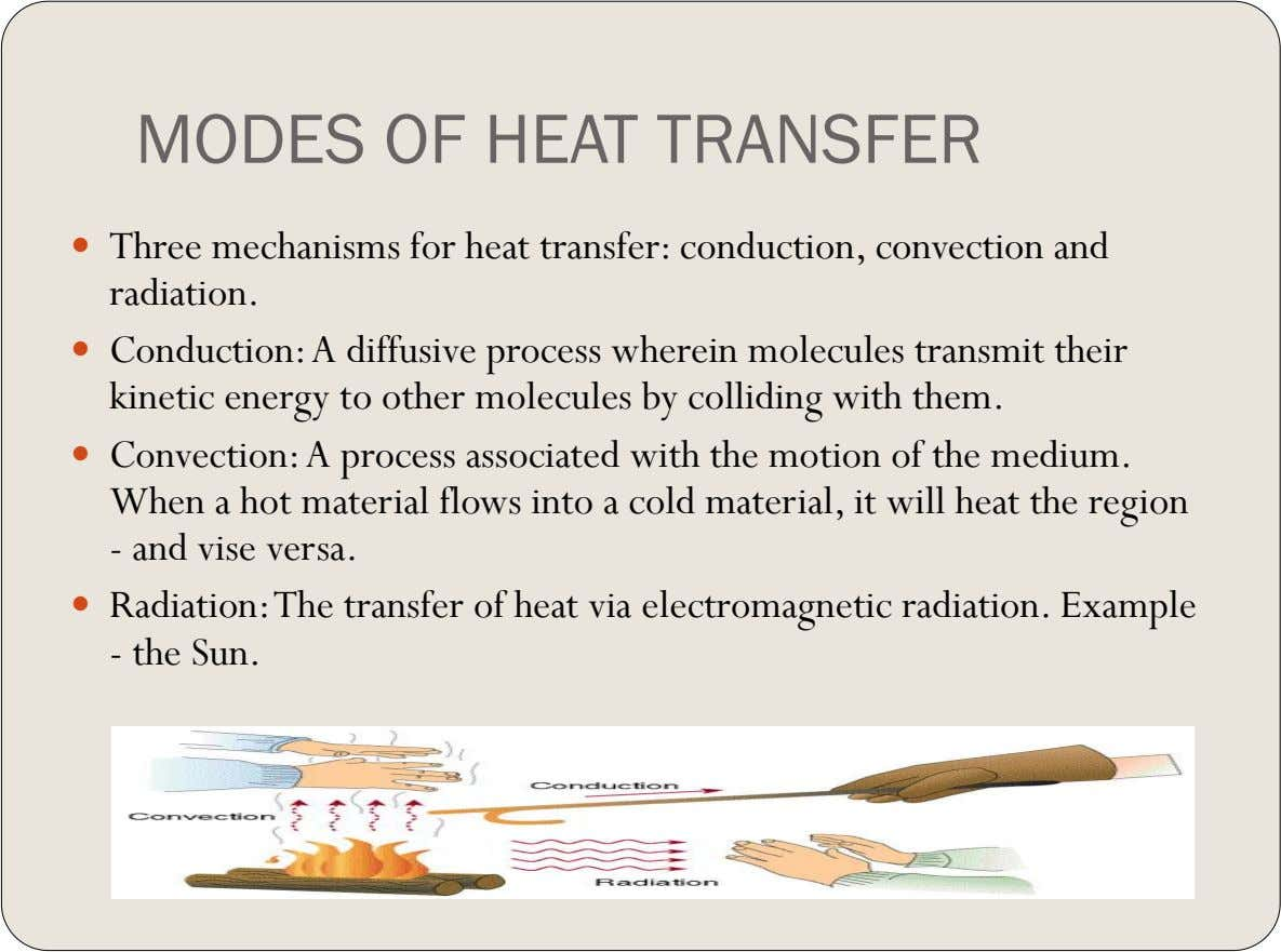 MODES OF HEAT TRANSFER  Three mechanisms for heat transfer: conduction, convection and radiation.  Conduction: