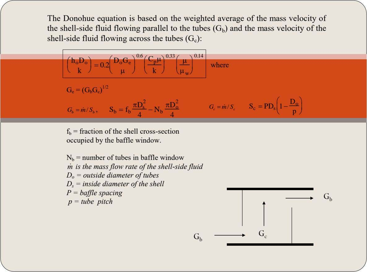The Donohue equation is based on the weighted average of the mass velocity of the shell-side