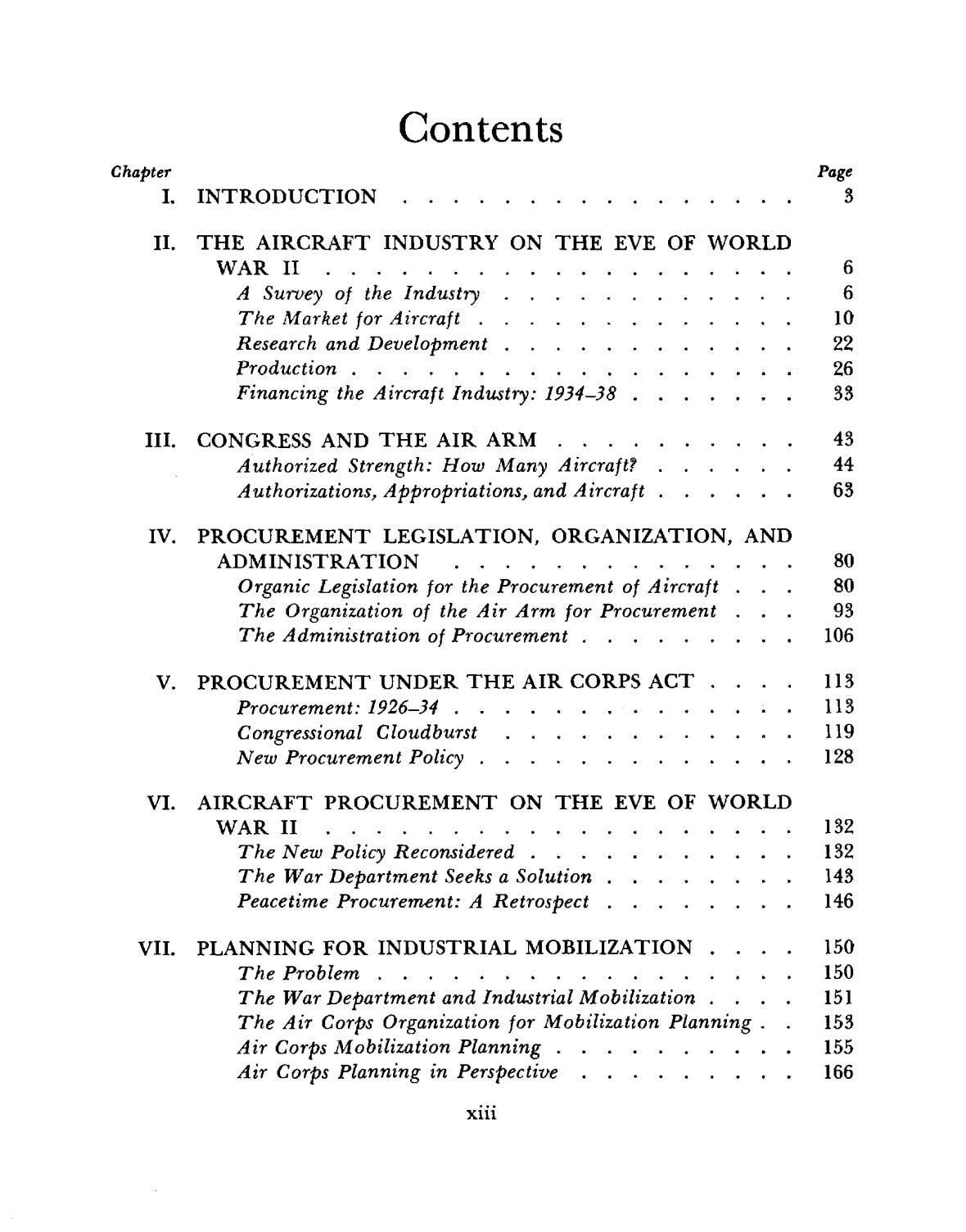 Contents Chapter Page I . INTRODUCTION . 3 II. THE AIRCRAFT INDUSTRY ON THE EVE