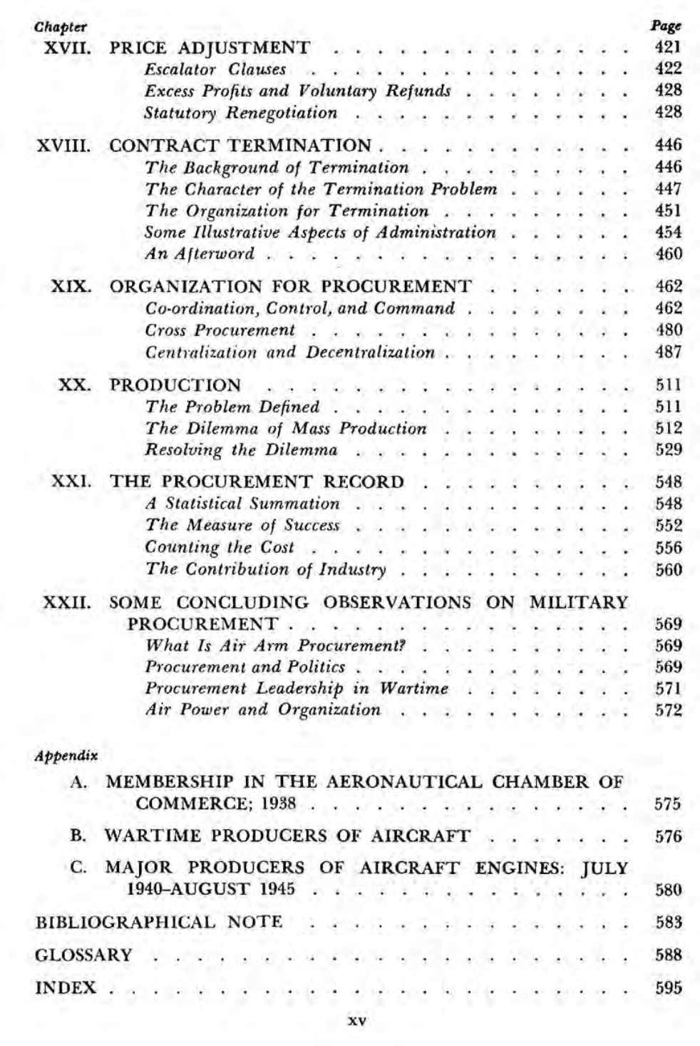Chapter Page XVII. PRICE ADJUSTMENT . 42 1 Escalator Clauses 42 2 Excess Profits and