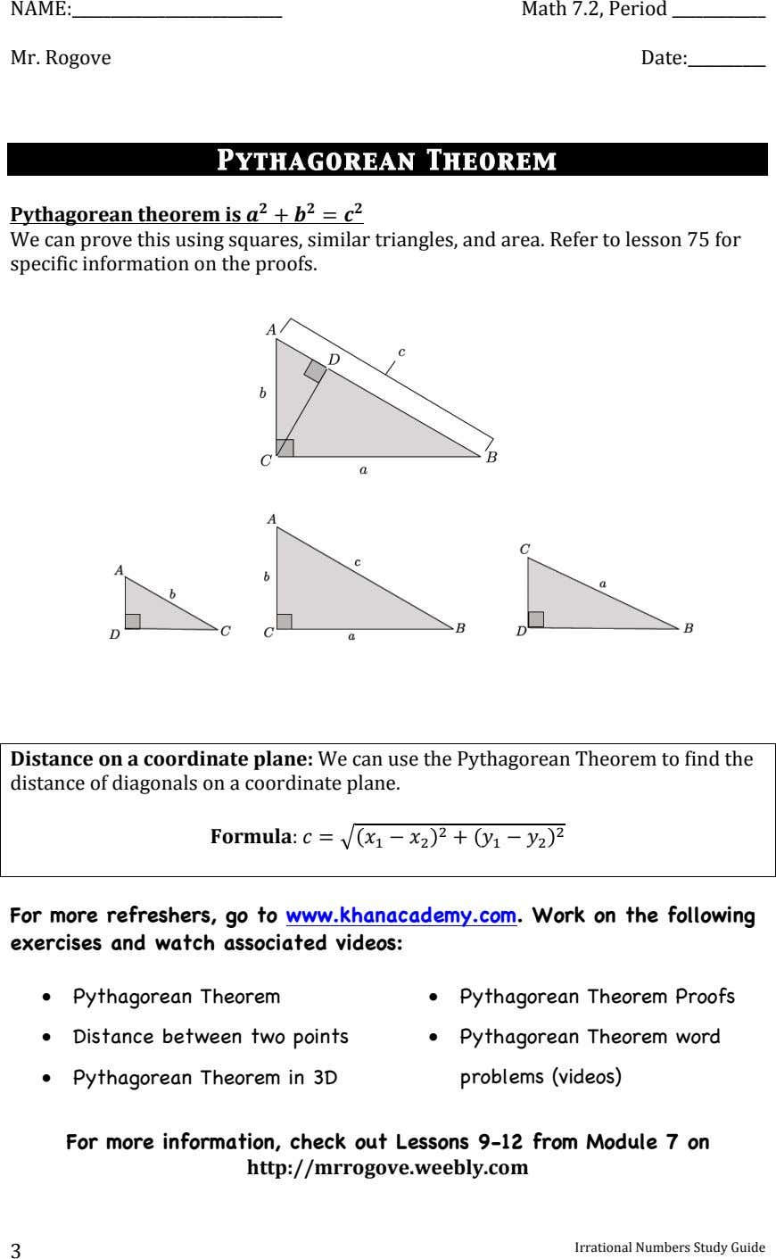 NAME: ' Math'7.2,'Period' ' Mr.'Rogove ' Date: ' ' Pythagorean Theorem (