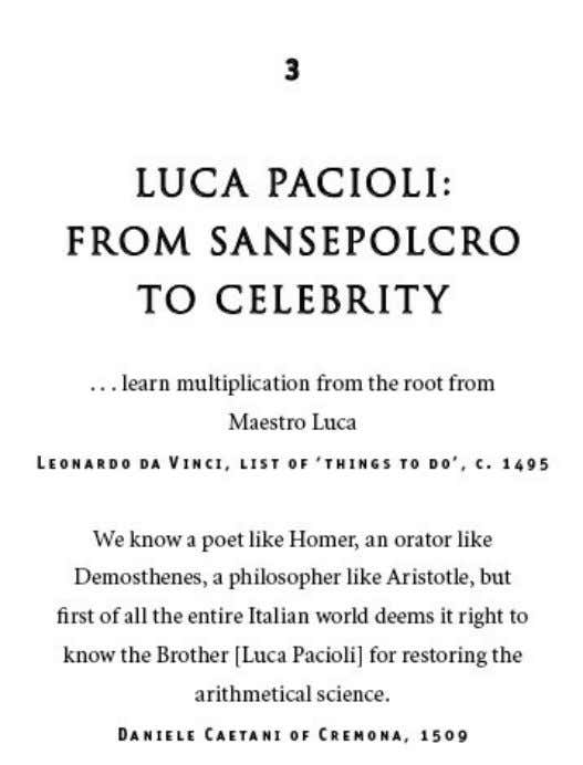 I n 1464, aged nineteen, Luca Pacioli left the small market town of Sansepolcro and