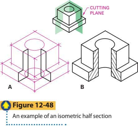CUTTING PLANE A B Figure 12-48 An example of an isometric half section