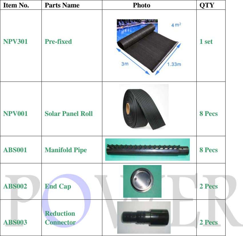 Item No. Parts Name Photo QTY NPV301 Pre-fixed 1 set NPV001 Solar Panel Roll 8