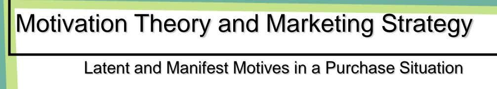 Motivation Theory and Marketing Strategy Latent and Manifest Motives in a Purchase Situation