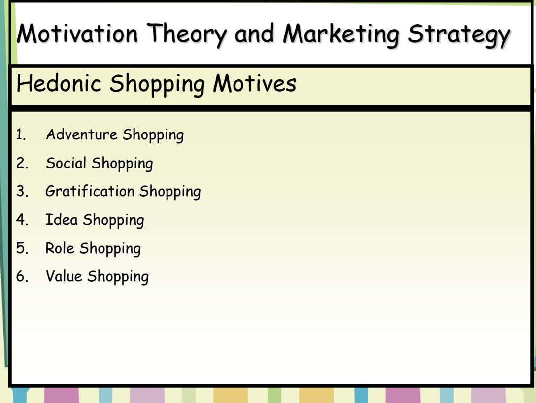 Motivation Theory and Marketing Strategy Hedonic Shopping Motives 1. Adventure Shopping 2. Social Shopping 3. Gratification