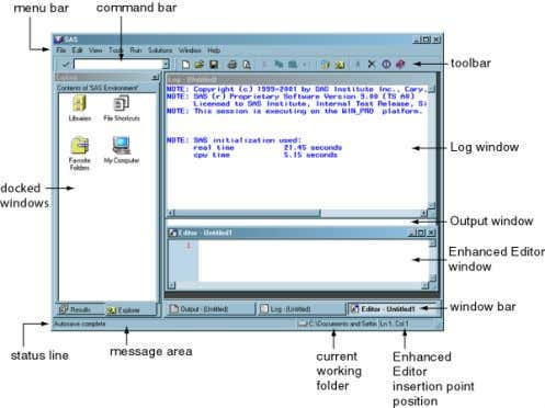 when you first start SAS. This section briefly describes the features of the window. Figure 2.1