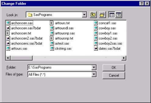 current folder. Display 2.1 The Change Folder Dialog Box If you organize your files so that