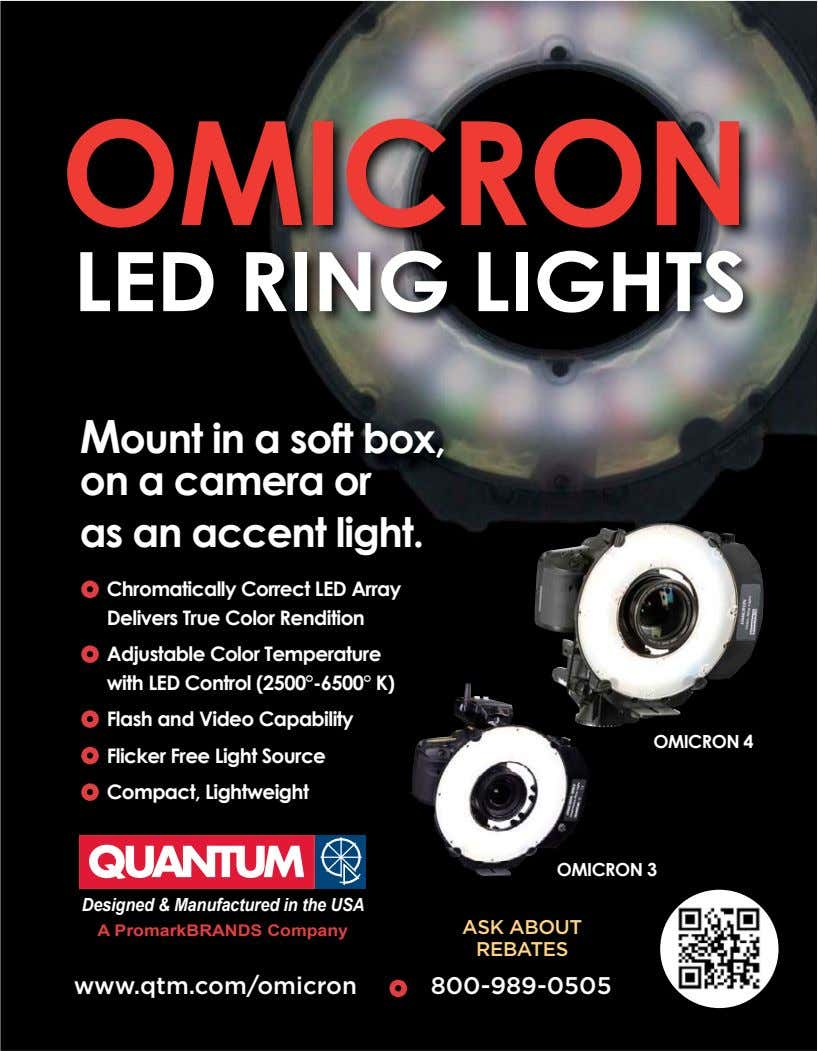 OMICRON LED RING LIGHTS Mount in a soft box, on a camera or as an