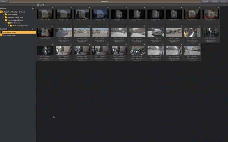 BulletProof import screen Imported footage in the thumbnails panel organize your project by creating new folders