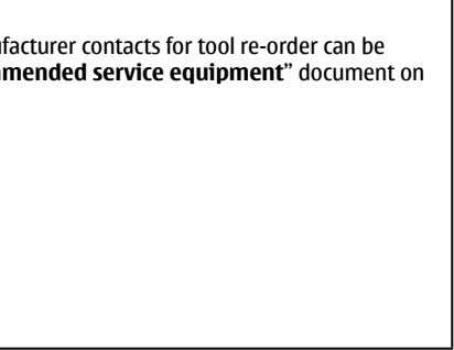 "Supplier or manufacturer contacts for tool re-order can be found in "" Recommended service equipment"