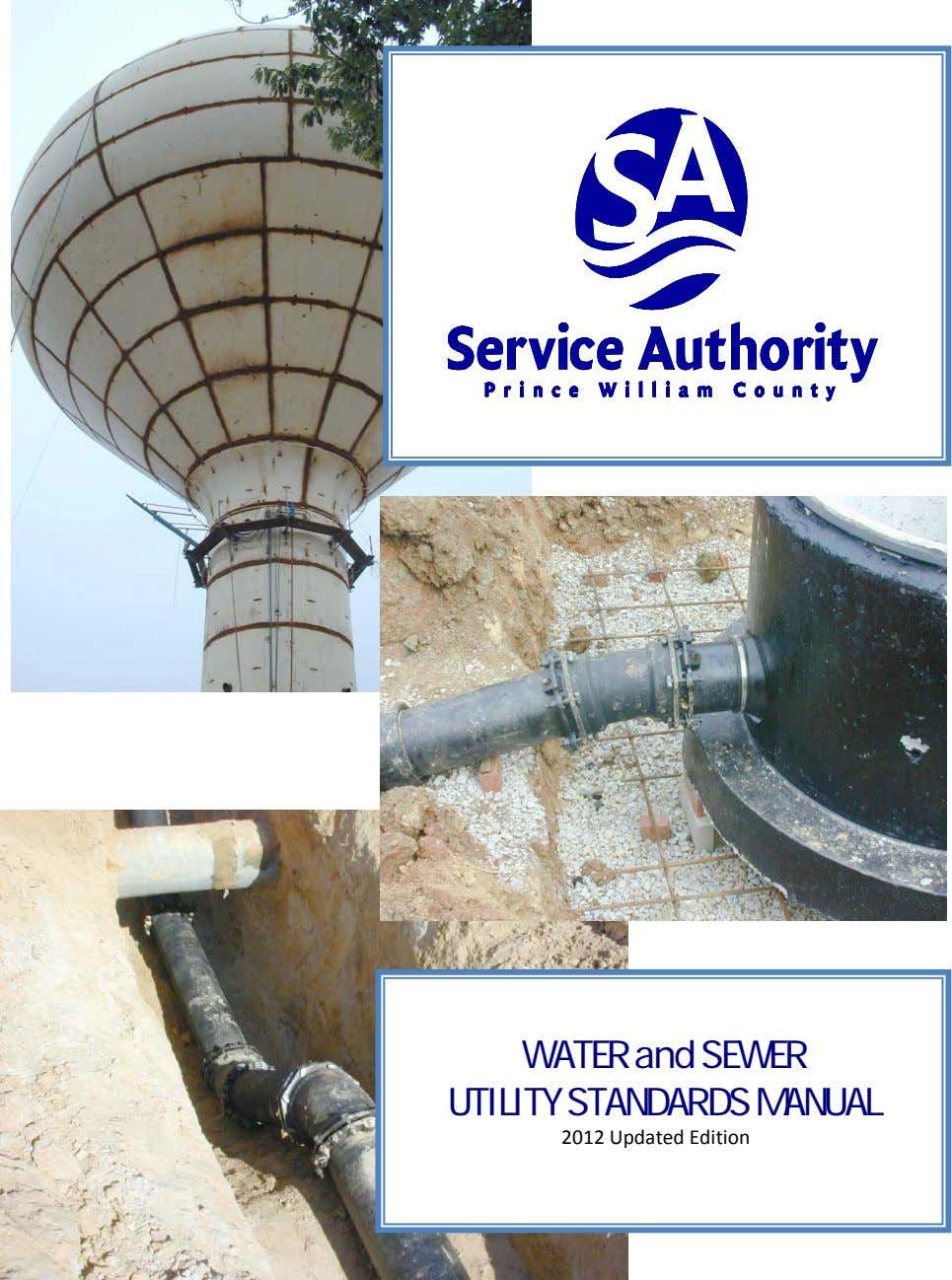 WATER and SEWER UTILITY STANDARDS MANUAL 2012 Updated Edition