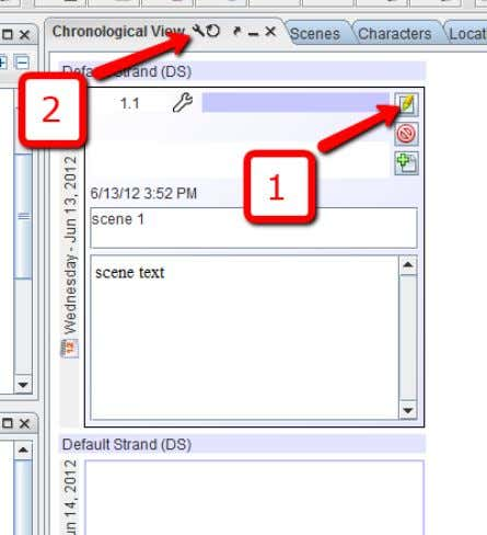 Press the edit button on the first (already created) scene. [1] Click on the edit button