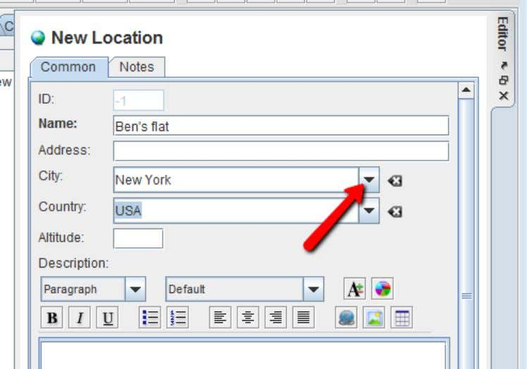 Now choose the same menu again to add another location: • Click on the arrow to