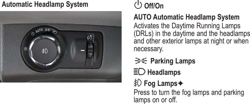Automatic Headlamp System Off/On AUTO Automatic Headlamp System Activates the Daytime Running Lamps (DRLs) in