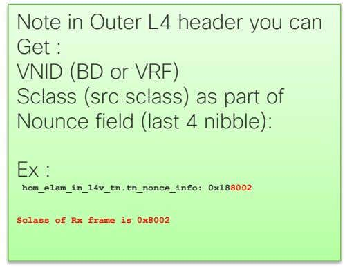 Note in Outer L4 header you can Get : VNID (BD or VRF) Sclass (src