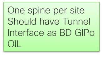One spine per site Should have Tunnel Interface as BD GIPo OIL