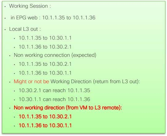 • Working Session : • in EPG web : 10.1.1.35 to 10.1.1.36 • Local L3