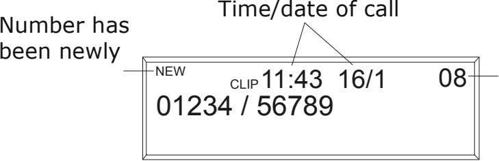 Time/date of call Number has been newly NEW registered 11:43 16/1 08 CLIP 01234 /