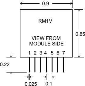 0.9 RM1V 0.85 VIEW FROM MODULE SIDE 1 2 3 4 5 6 7 0.22