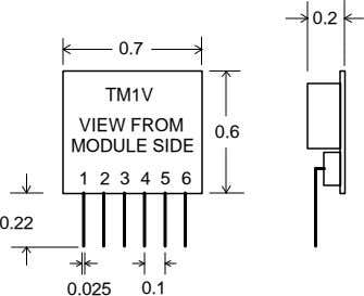 0.2 0.7 TM1V VIEW FROM 0.6 MODULE SIDE 1 2 3 4 5 6 0.22