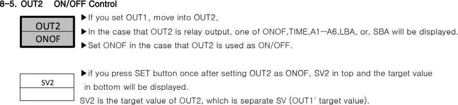 8-5. OUT2 ON/OFF Control ▶If you set OUT1, move into OUT2, OUT2 ▶In the case