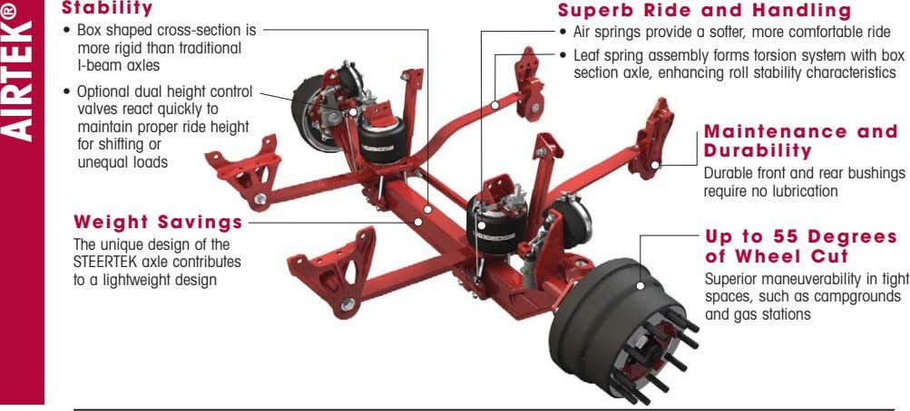 Stability Superb Ride and Handling • Box shaped cross-section is more rigid than traditional I-beam