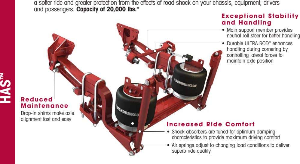 softer ride and greater protection from the effects of road shock on your chassis, equipment,