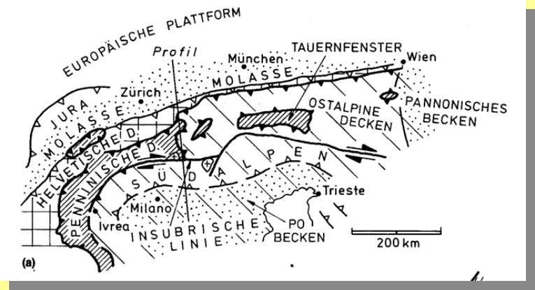 Die Alpen Aus Howell, D.G., 1987 (Spektrum) heutige Situation palinspastische Rekonstruktion