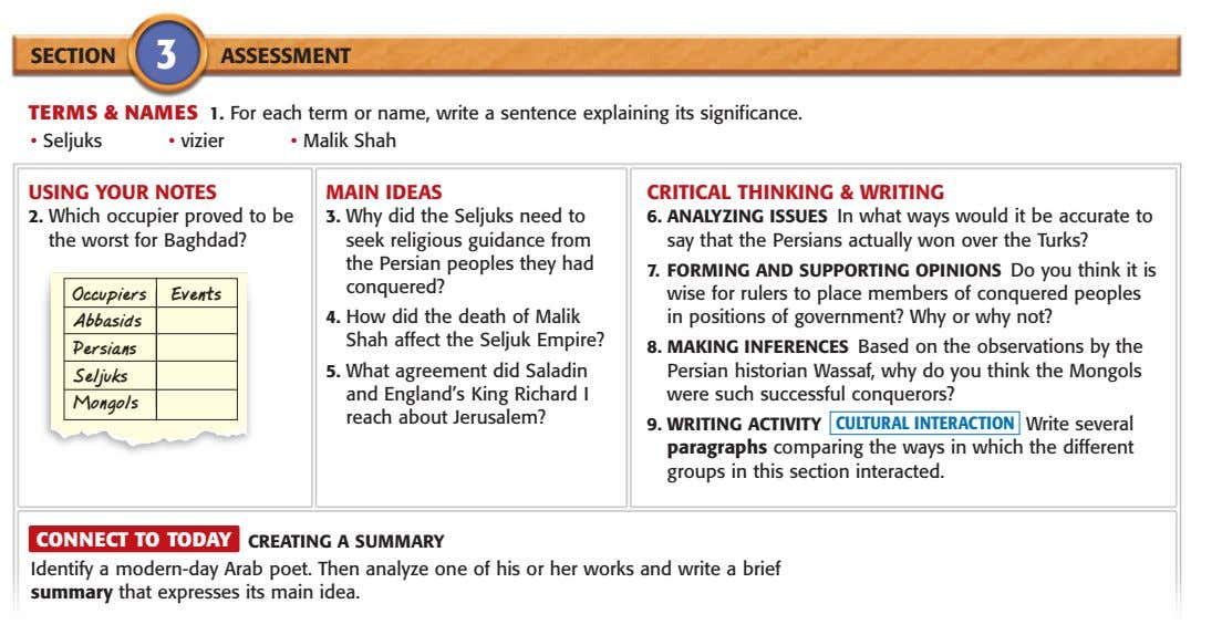 SECTION 3 ASSESSMENT TERMS & NAMES 1. For each term or name, write a sentence