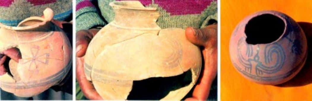 "Pr¢gdh¢r¢, No. 18 Figs. 8-10. The pre-Harappan pots with paintings, Kunal The so-called ""fig-deity' seal (Fig."