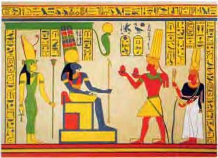 Taharka and the Queen offering to Amun (blue) and Mut (colored in yellow) depicted as a