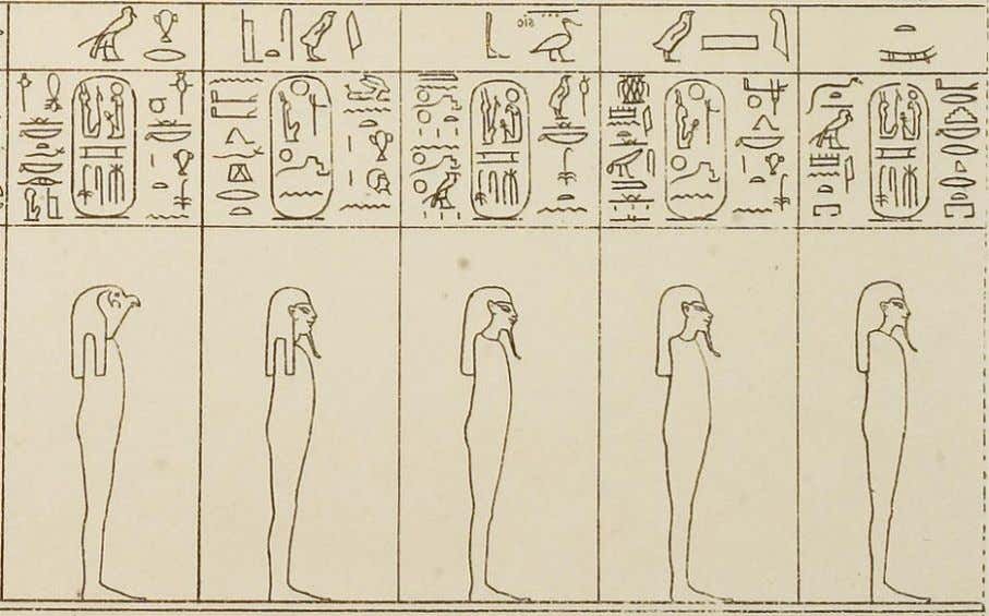 "From right to left, 11, ""Atum"" ; 13, ""Shu"" ; 15, ""Geb"" ; 17, ""Isis"""