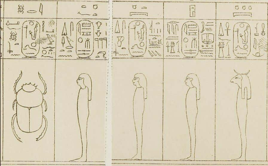 """Shu"" ; 15, ""Geb"" ; 17, ""Isis"" ; 19, ""Horus"" From left to right, 12, ""the"