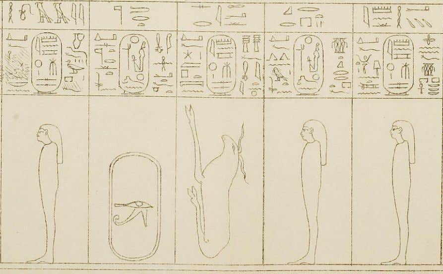 """Amente (the West/Netherworld)"" ; 29, ""the Mourner"" From left to right, 22, ""The Decomposed One"" ;"