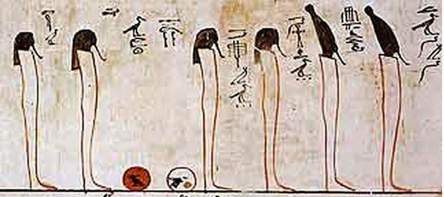 "From right to left, 38-""The One Joined Together"" mummiform and wearing the White Crown 39-""He"