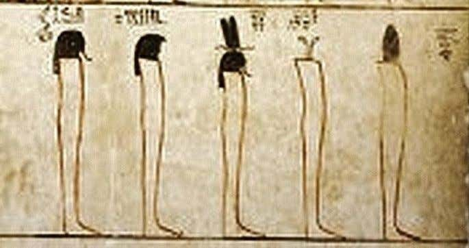 "From right to left, 70-""Dark Face"" mummiform and with a lamp as head 71-""The Binder"""