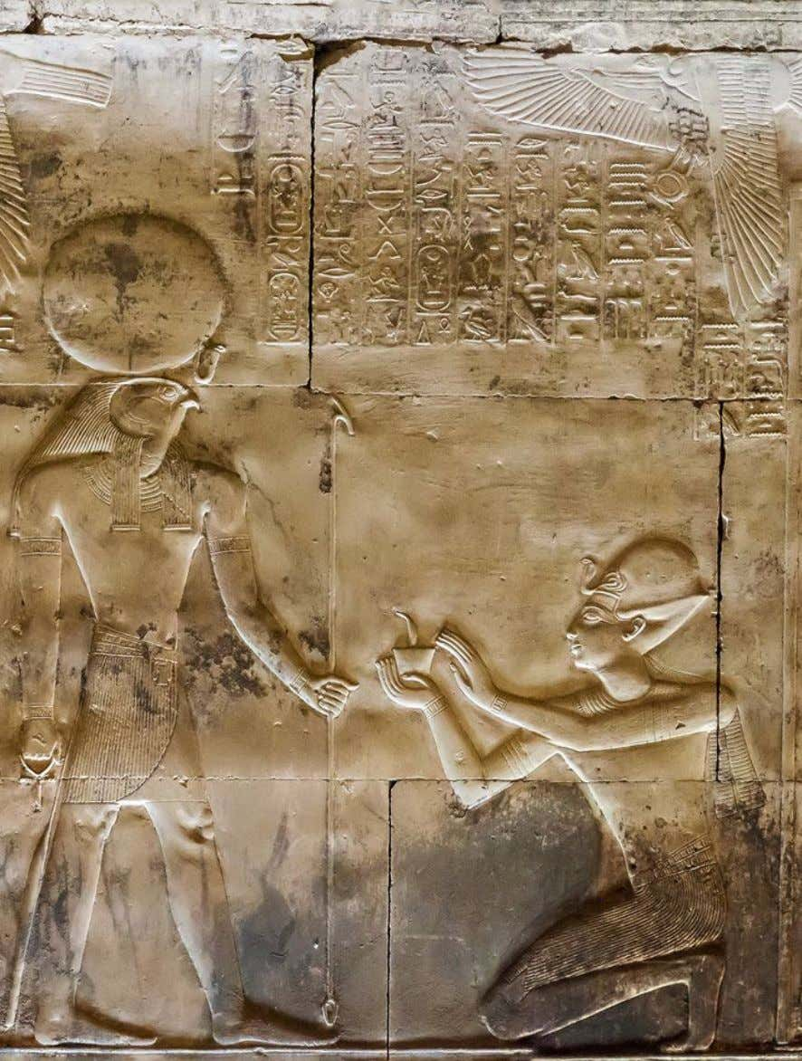 """Great Temple"" of King Sethi I at Abydos, Chapel of Ra-Harakhty, north-east wall. Scene from"