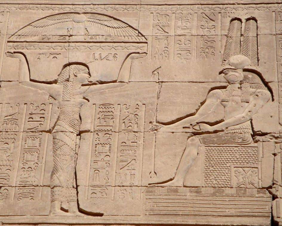Temple of the Goddess Hathor at Nitentore (Dendera), scene from the rear wall (west side):