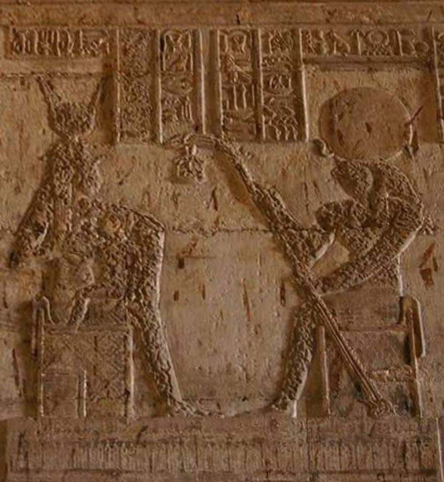 Temple of the Goddess Hathor at Nitentore (Dendera), scene from the inner shrine of the