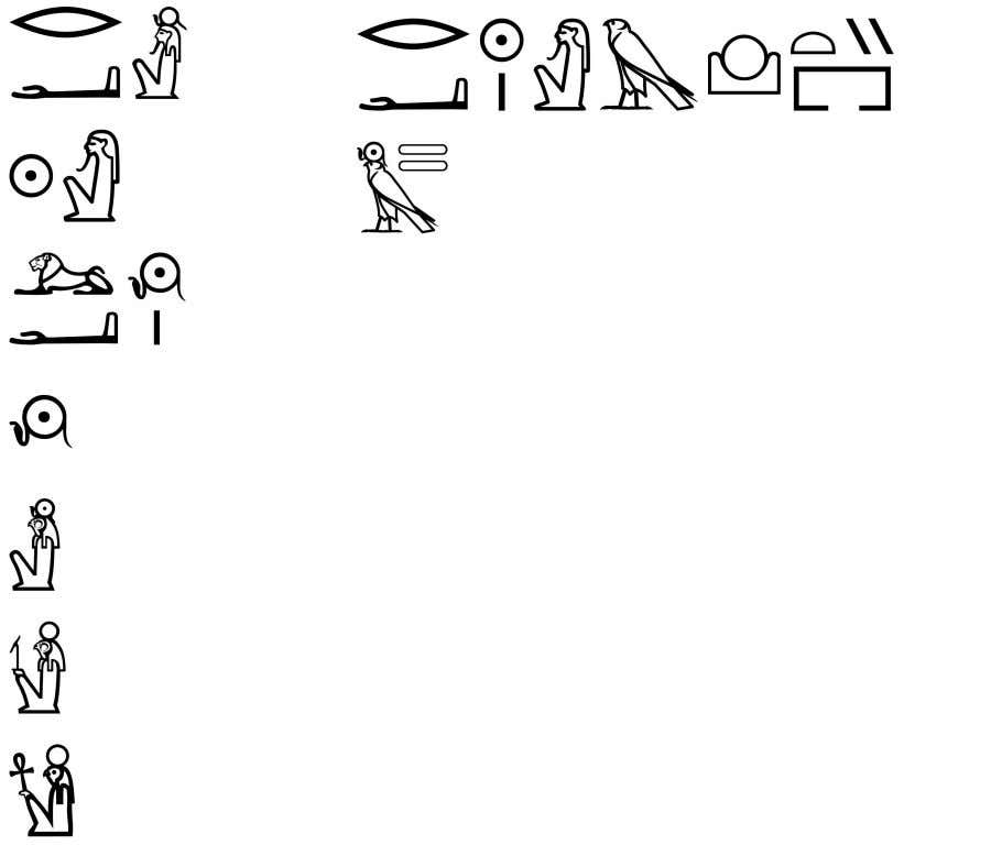 at left, some of the most common spellings of the name of the God Ra