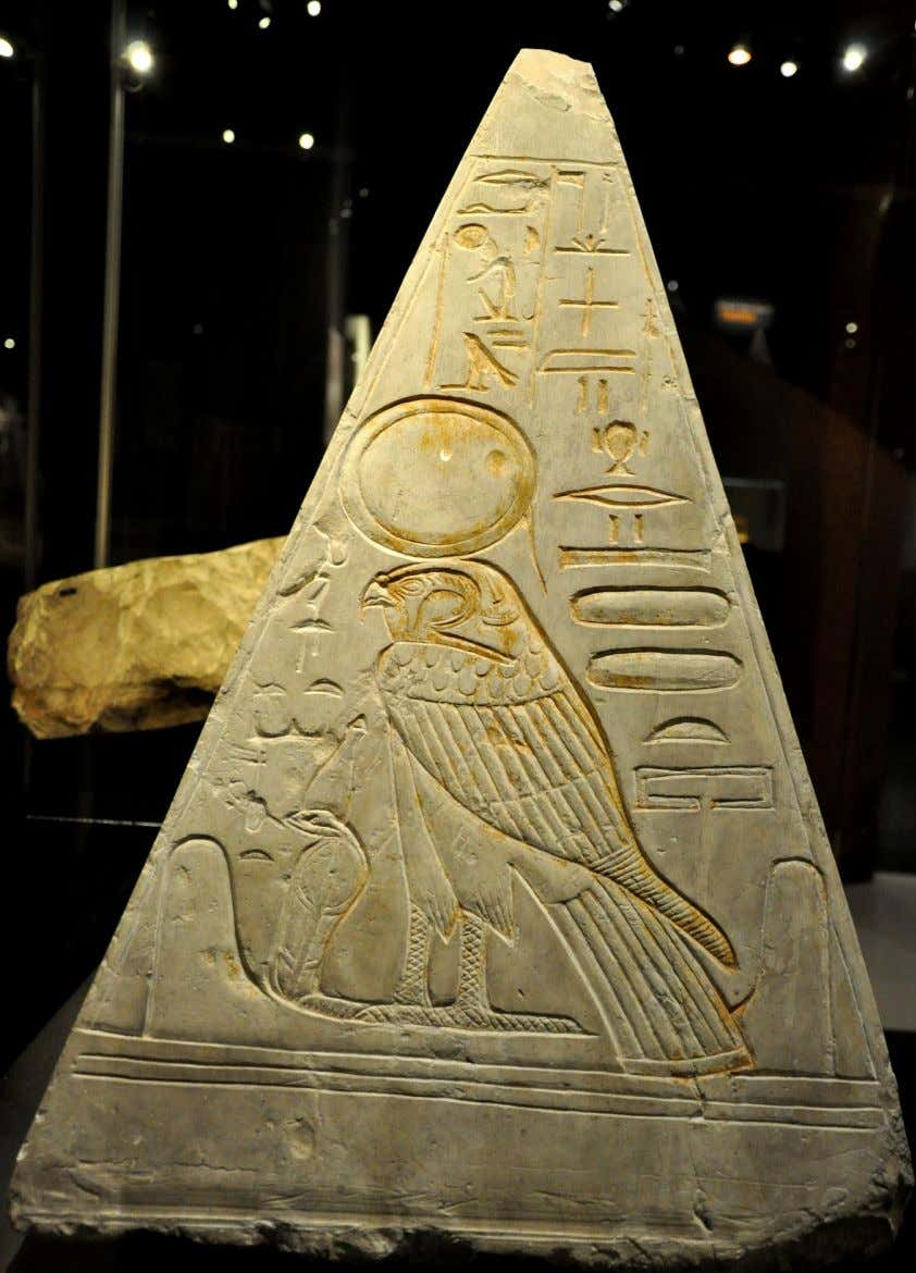 "III part: Ra in His form of sacred falcon The Pyramidion from the ""House of Eternity"""