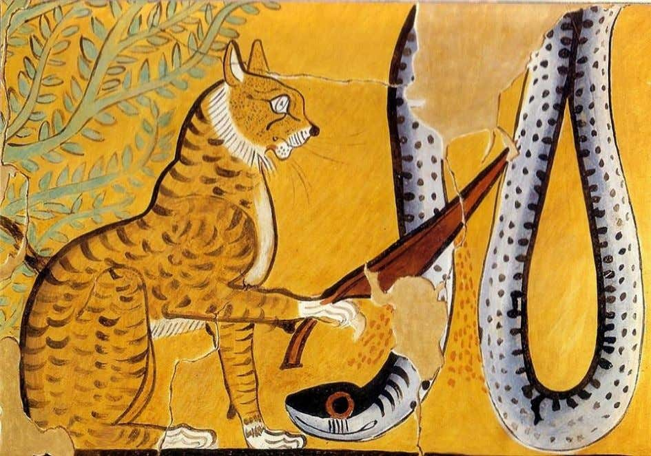 IV part: Ra in His form of sacred cat Detail of a facsimile painting of a