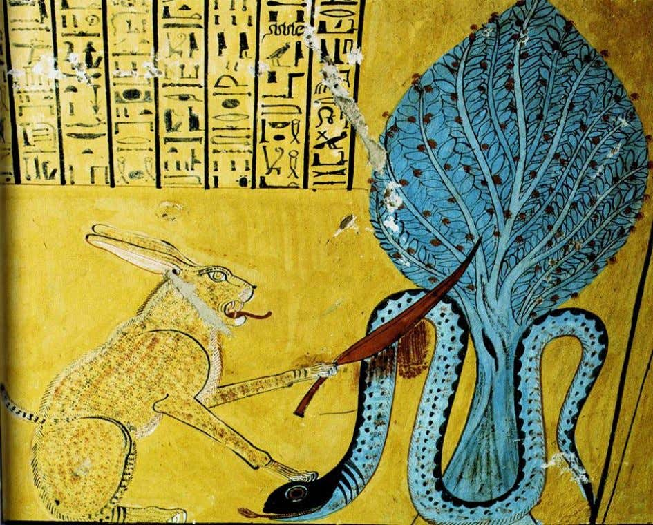"The God Ra represented in His form of the ""Great Cat of On-Heliopolis"" slaughtering with"