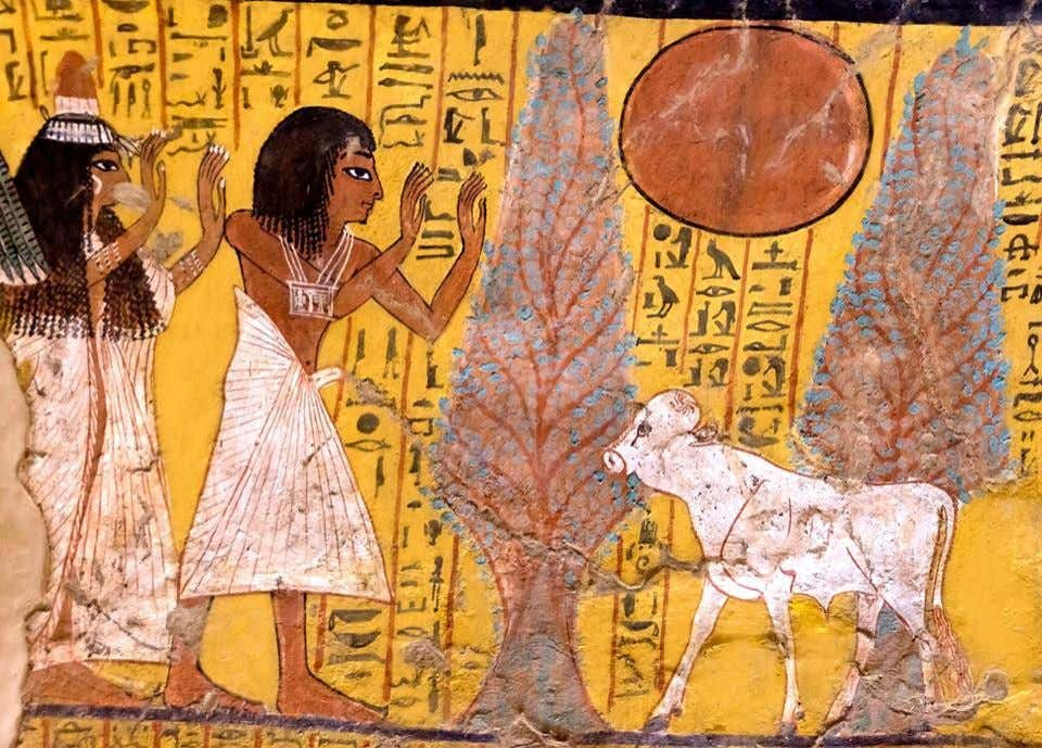 "Scene from the ""House of Eternity"" of Irynefer, West Uaset-Thebes (TT290). Irynefer and his wife"